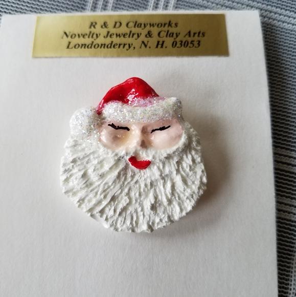 Vintage Santa Head Brooch